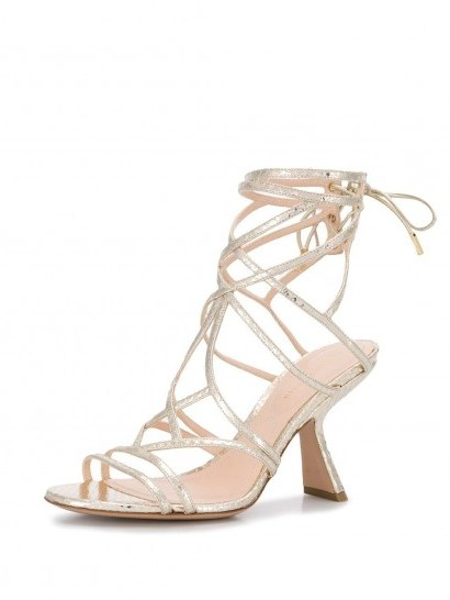 NICHOLAS KIRKWOOD Selina sandals in metallic gold - flipped