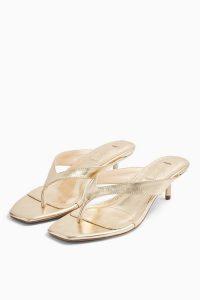 TOPSHOP NINA Ecru Mini Heel Mules – metallic heels