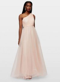 Miss Selfridge Nude One Shoulder Tulle Maxi Dress – party princess