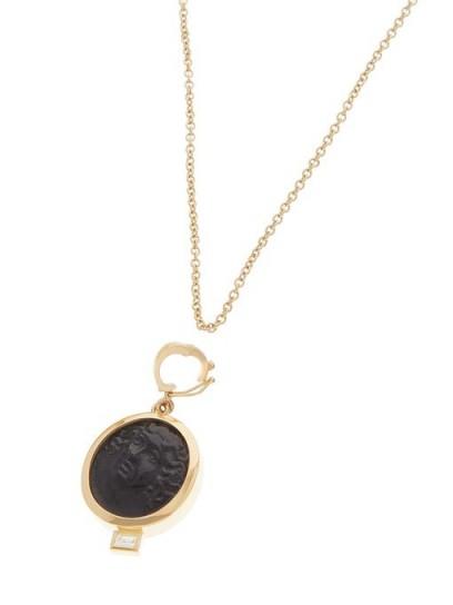 AZLEE Nymph baguette-diamond & 18kt gold necklace / black glass pendant