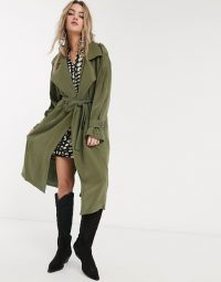 Object oversized trench coat with volume sleeves in khaki