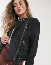 Object real leather suede chunky biker jacket in black