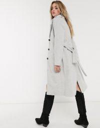Object wool coat with tie belt in grey