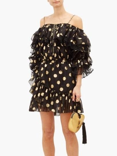 DUNDAS Off-the-shoulder polka-dot silk-blend mini dress in black - flipped