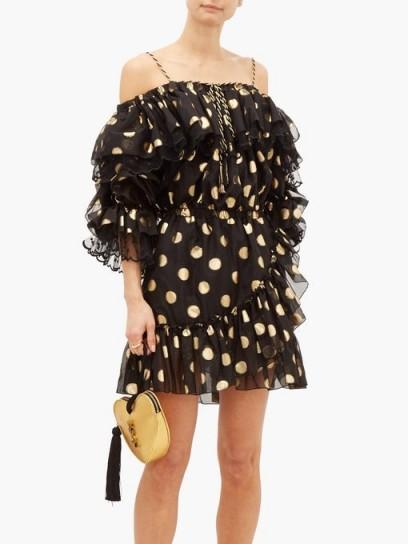 DUNDAS Off-the-shoulder polka-dot silk-blend mini dress in black