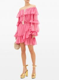 DUNDAS Off-the-shoulder ruffled silk-chiffon dress in pink
