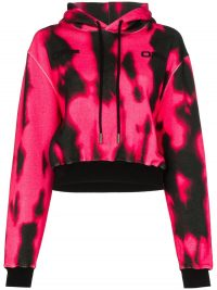 OFF-WHITE cropped tie-dyeddr hoodie in pink / black