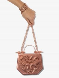 OKHTEIN hexagon metallic bag in rose-gold