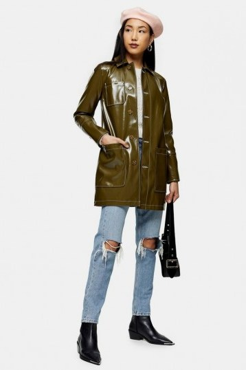 TOPSHOP Olive Vinyl Car Coat – dark green high shine coats - flipped