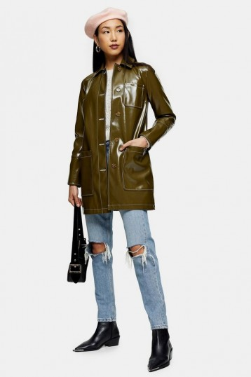 TOPSHOP Olive Vinyl Car Coat – dark green high shine coats