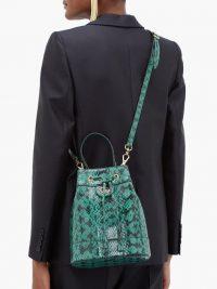 GUCCI Ophidia snake-print leather bucket bag in dark green, black