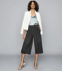 REISS OTTIE SUEDE CULOTTES CHARCOAL ~ cropped wide leg pants