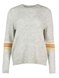 OLIVER BONAS Ottoman Striped Grey Knitted Jumper | stripe detail crew neck