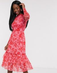 Outrageous Fortune high neck pleated mesh midi dress in red floral print – fashion for parties