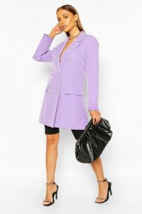 boohoo Oversize Double Breasted Blazer in lilac – jacket – longline