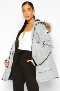 boohoo Oversized Faux Fur Trim Sporty Parka in Grey