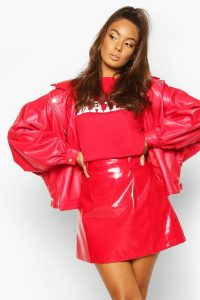 boohoo Oversized PU 80's Jacket in red