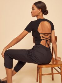 REFORMATION Pablo Top Black ~ lace-up back tops