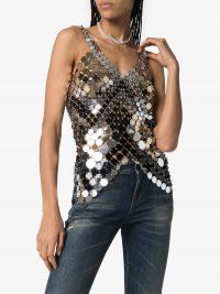 PACO RABANNE metallic disc chain top – evening glamour