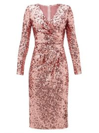 DOLCE & GABBANA Padded-shoulder V-neck sequinned dress in pink