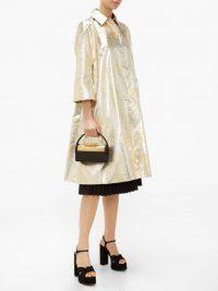 SARA BATTAGLIA Palm-leaf brocade opera coat in silver and gold ~ luxe event coats