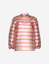 PAPER LONDON Luna striped metallic woven top in lurex multi