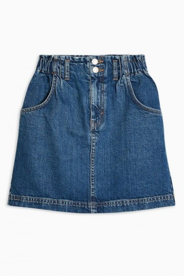 Topshop Paperbag Waist Denim Mini Skirt in Mid Stone