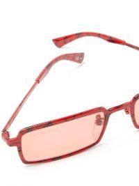 BALENCIAGA Paris-print rectangular acetate sunglasses in red / designer eyewear