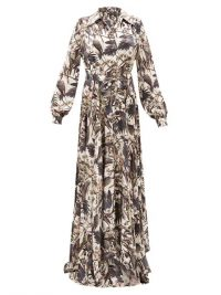 EDWARD CRUTCHLEY Parrot-print belted silk-satin maxi dress in white