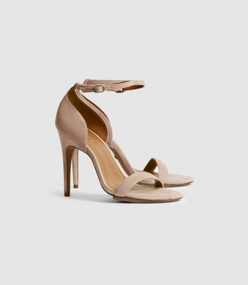 Reiss PAULA SUEDE STRAPPY SANDALS TAUPE / ankle strap high heels