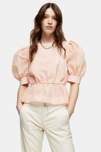 TOPSHOP Peach Sheer Check Puff Sleeve Blouse / oversized puffed sleeves