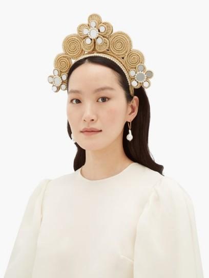 MAGNETIC MIDNIGHT Pearl and mirror-embellished raffia headband | ornate headbands | event hair accessory