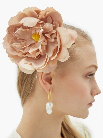 PHILIPPA CRADDOCK Peony hair clip in beige | large floral hair accessory