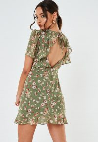 MISSGUIDED petite green floral open back mini dress -short tea dresses