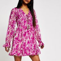 RIVER ISLAND Petite pink printed midi smock dress