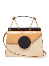 DANSE LENTE Phoebe Bis crocodile-effect leather bag in beige – colourblock handbag