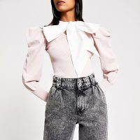 RIVER ISLAND Pink contrast bow puff sleeve knitted top – extreme puffed sleeves