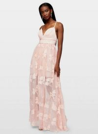 Miss Selfridge Pink Embroidered Organza Maxi Dress – long feminine occasion dresses
