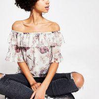 RIVER ISLAND Pink floral ruffle bardot top – off the shoulder