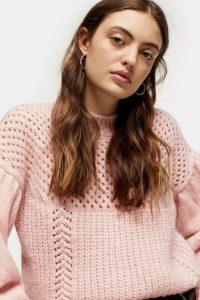 Topshop Pink Mid Weight Yoke Knitted Jumper | open knit ballon sleeved sweater