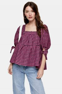 TOPSHOP Pink Neon Check Chuck On Blouse – checked puff sleeve top