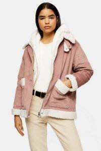 TOPSHOP Pink Padded Corduroy Jacket