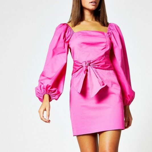 River Island Pink puff sleeve tie waist mini dress – going out dresses - flipped