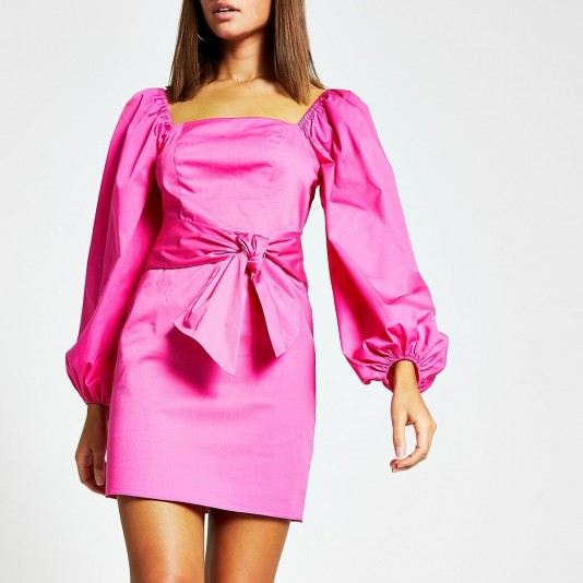 River Island Pink puff sleeve tie waist mini dress – going out dresses