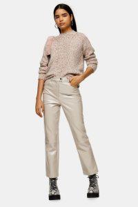 TOPSHOP Pink Vinyl Straight Leg Trousers