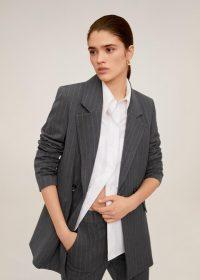MANGO Pinstripe suit blazer in grey REF. 67082902-DIPLO-I-LM – striped jacket