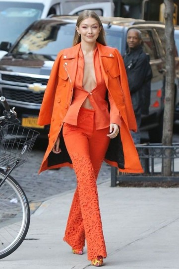 Gigi Hadid rockin this bright orange look