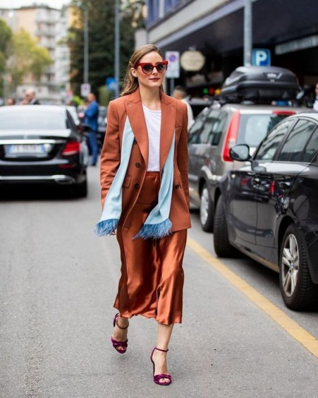 Olivia Palermo in a copper midi skirt suit