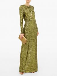 DUNDAS Plunge-keyhole sequin gown in green – luxury low back event dresses
