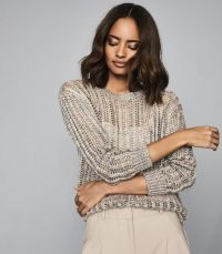 REISS POLLY OPEN-KNIT JUMPER MULTI / sheer sweaters